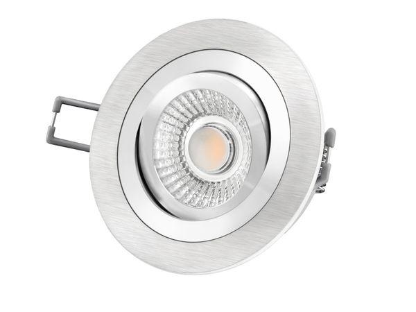 RF-2 LED-Einbauspot rund flach Alu schwenkbar inkl. LED-Modul 230V, 10W, warm weiß 2300-2700K dimmbar mit Dim-to-Warm