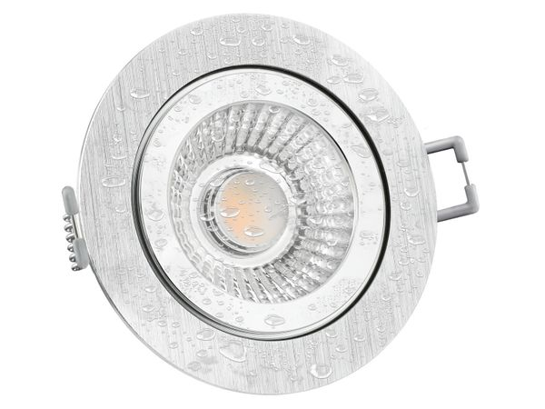 RW-2 LED-Einbauspot rund flach IP44 Alu inkl. LED-Modul 230V, 10W, warm weiß 2300-2700K dimmbar mit Dim-to-Warm