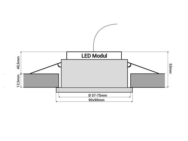 QW-2 LED-Einbauspot quadratisch flach IP44 Alu inkl. LED-Modul 230V, 10W, warm weiß 2300-2700K dimmbar mit Dim-to-Warm – Bild 6