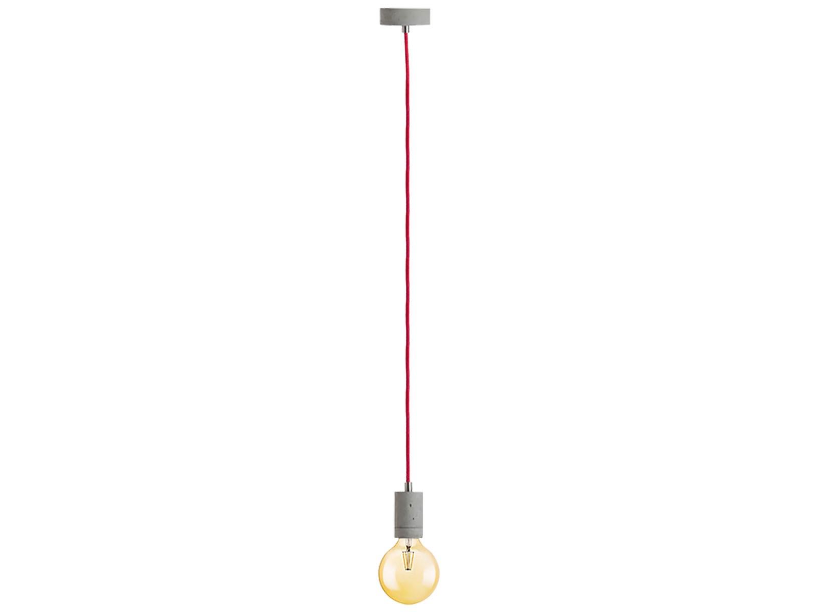 kalla beton pendelleuchte kabel rot 2 20m mit osram led vintage 1906 e27 globe 7w dimmbar. Black Bedroom Furniture Sets. Home Design Ideas