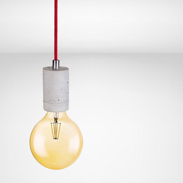 KALLA Beton-Pendelleuchte, Kabel rot 2,20m, mit OSRAM LED VINTAGE 1906 E27 Globe 7W – Bild 2