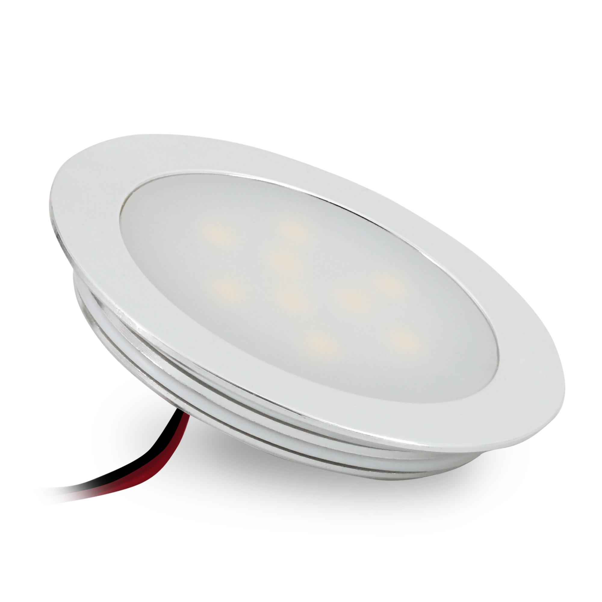 Ultraflache Led Einbauleuchte Für Feuchträume Alu Matt Rund 05w Warm Weiß 12v Ip67