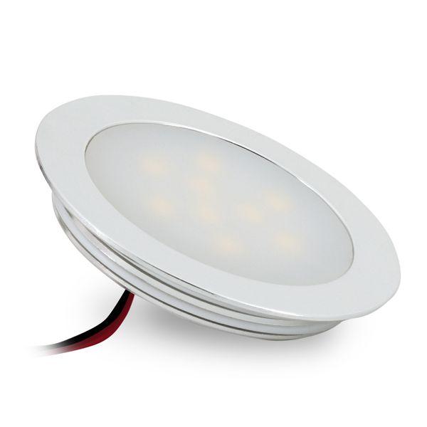 Ultraflache LED Einbauleuchte für Feuchträume - Alu matt rund, 0,5W warm weiß, 12V IP67