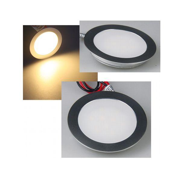 Ultraflache LED Einbauleuchte für Feuchträume - Alu matt rund, 0,5W warm weiß, 12V IP67 – Bild 2