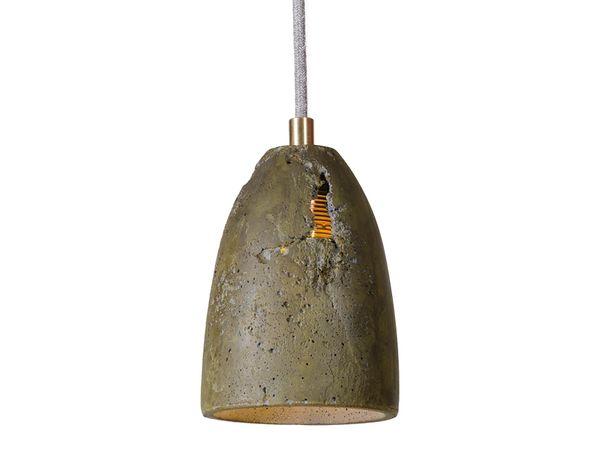 FEBE Pendelleuchte Beton olive mit Messing Komponenten, Kabel grau 2,20m inkl. OSRAM 6W LED Filament E27 warm weiß – Bild 1