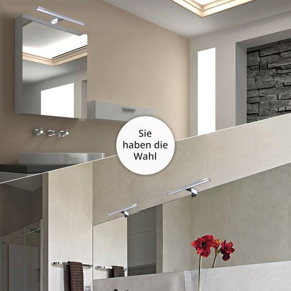 LED Bad Spiegelleuchte 2-in-1 Aufbauleuchte / Klemmleuchte 30cm 4,5W IP44 tageslichtweiß 30cm chrom glänzend – Bild 4