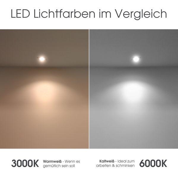 XXL LED Badleuchte Spiegelleuchte 60 cm - 9W IP44 warmweiß chrom glänzend – Bild 6