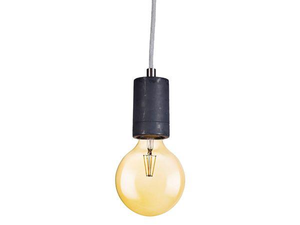 KALLA Beton-Pendelleuchte schwarz, Kabel hellgrau 2,20m, mit OSRAM LED VINTAGE 1906 E27 Globe 7W