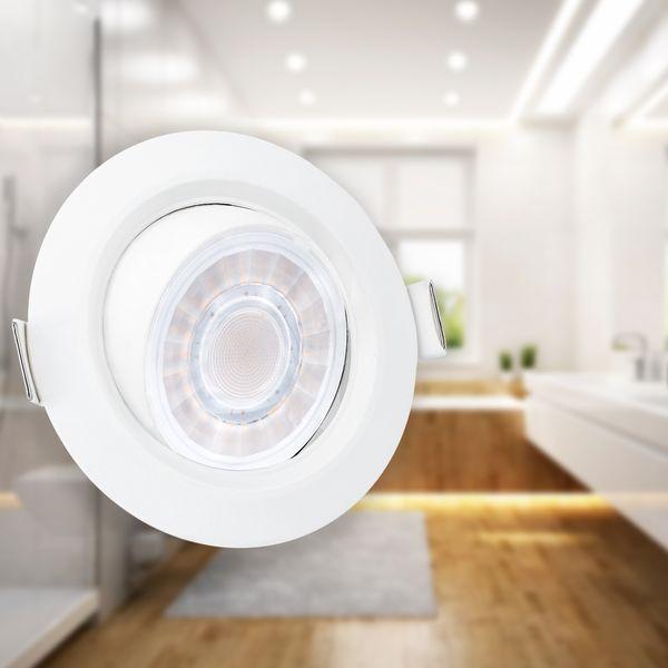 Schwenkbarer LED-Einbaustrahler weiß, IP44, 8W LED dimmbar, warm weiß – Bild 3