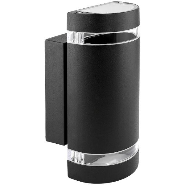 LED Wandleuchte Up & Down Außen IP44 inkl. 2x LED GU10 5W neutralweiß 230V in schwarz halbrund – Bild 1