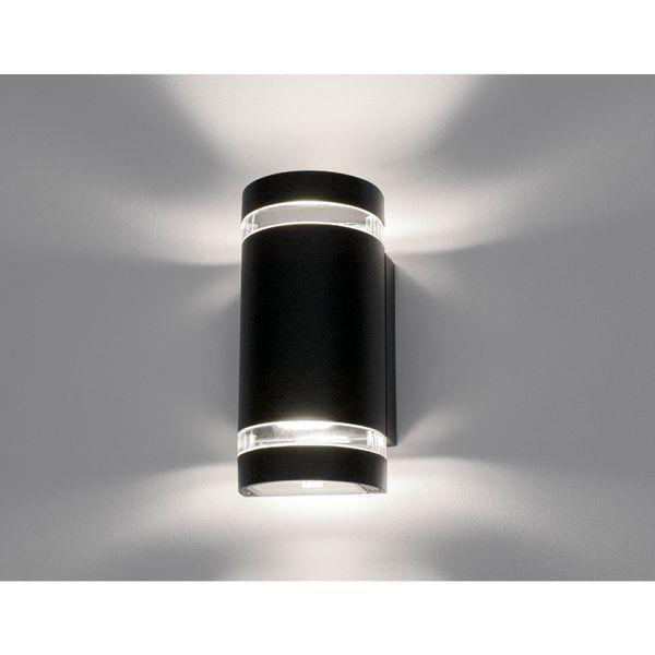 Wandlampe up&down Außenwandleuchte halbrund IP44 schwarz inkl. 2 LED 5W GU10 neutralweiß – Bild 4