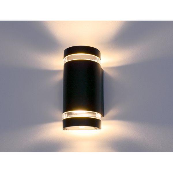Wandlampe up&down Außen-Wandleuchte Aufbau-Leuchte Alu IP44, schwarz, inkl. 2 LED 5W, 230V GU10, warm weiss – Bild 4