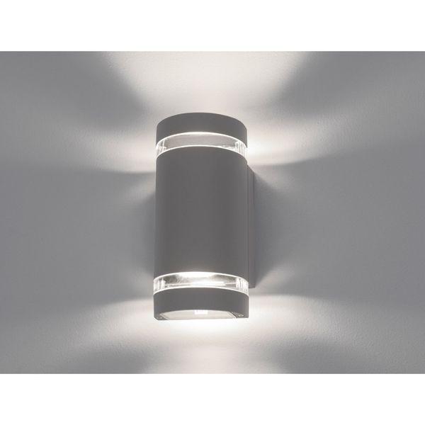 LED Wandleuchte Außen Up & Down IP44 mit 2x LED GU10 5W warmweiß 230V in silber grau & halbrund – Bild 4