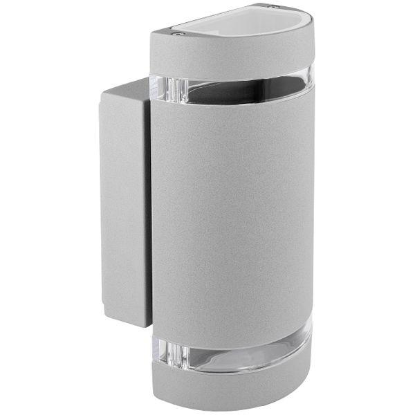LED Wandleuchte Außen Up & Down IP44 mit 2x LED GU10 5W warmweiß 230V in silber grau & halbrund – Bild 1