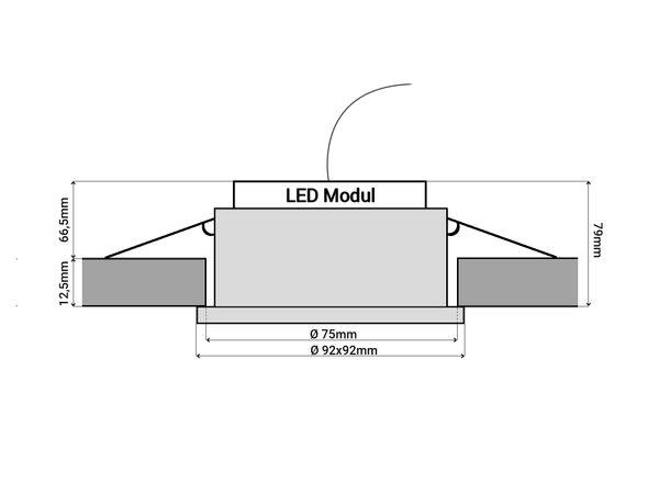 QF-2 LED-Einbauspot flach Alu schwarz schwenkbar inkl. LED-Modul 230V, 15W, warm weiß 3000K dimmbar – Bild 5