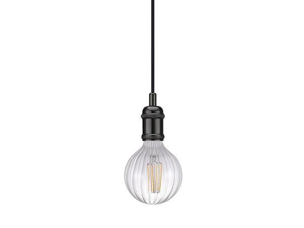 nordlux Avra Pendelleuchte schwarz, Kabel 200cm mit LED Filament Fadenlampe 2W E27 extra warm weiß