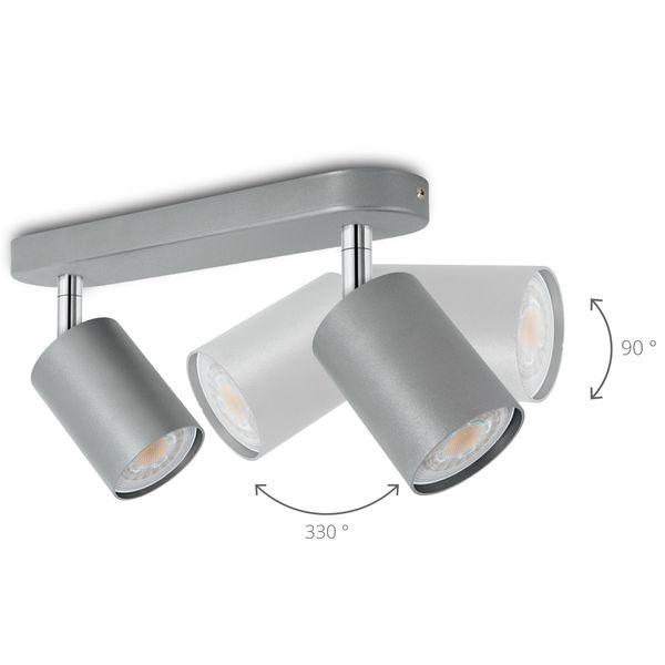 2er Deckenstrahler Eye Spot silber, inkl. 2 LED 5W warm weiß 2700K – Bild 4