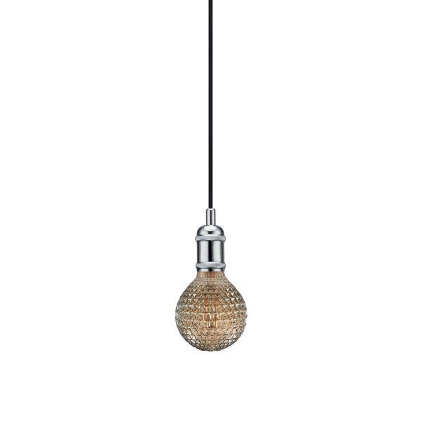 nordlux Avra Pendelleuchte Chrom, Kabel schwarz 200 cm mit LED Filament Fadenlampe 2W E27 extra warm weiß