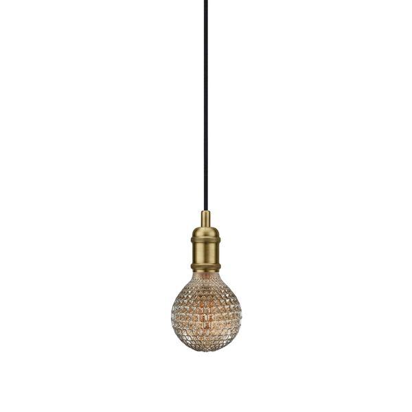 nordlux Avra Pendelleuchte Messing, Kabel schwarz 200 cm mit LED Filament Fadenlampe 2W E27 extra warm weiß – Bild 1
