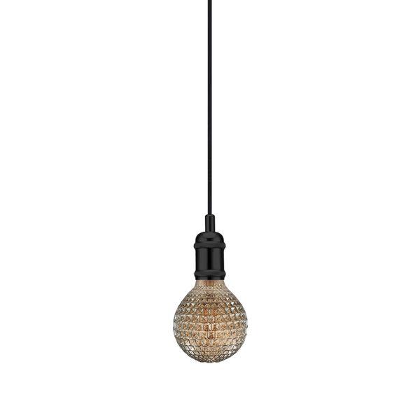 nordlux Avra Pendelleuchte schwarz, Kabel schwarz 200 cm mit LED Filament Fadenlampe 2W E27 extra warm weiß