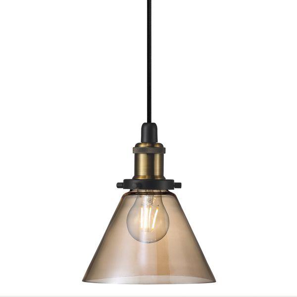 nordlux DISA Pendelleuchte Amber/ Bernstein, Kabel schwarz 300 cm, inkl. OSRAM LED E27 Filament 6W warmweiß
