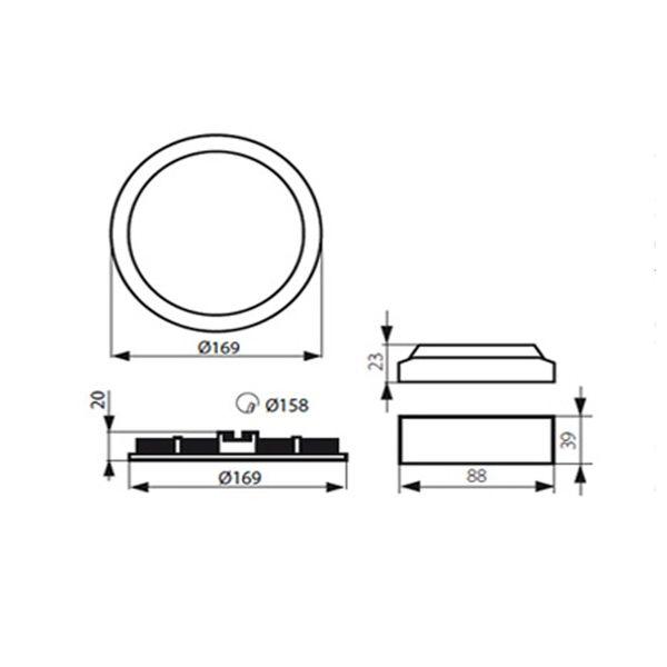 flache LED Deckenlampe Einbau-Panel - Einbauleuchte ROUNDA V2LED weiß  LED SMD rund, 12W warm weiß, 230V IP44 – Bild 5
