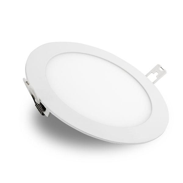 flache LED Deckenlampe Einbau-Panel - Einbauleuchte ROUNDA V2LED weiß  LED SMD rund, 12W warm weiß, 230V IP44