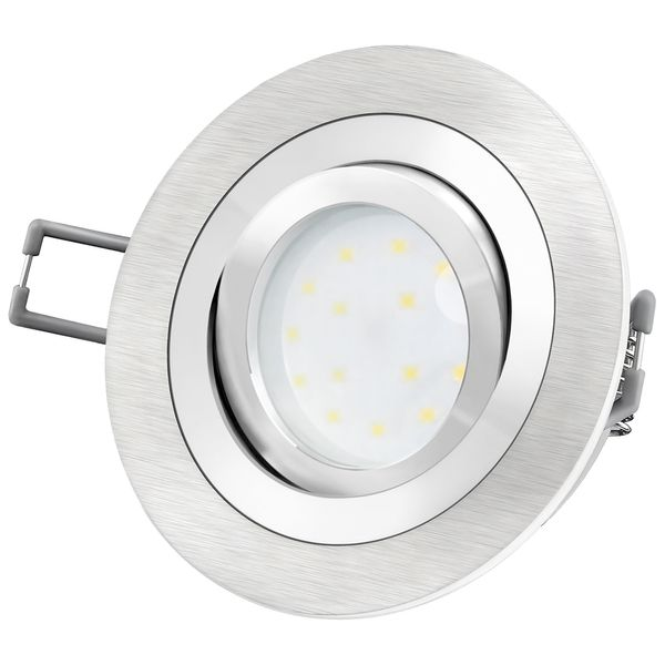 RF-2 Aluminium LED-Einbauleuchte flach rund inkl. fourSTEP Dim LED Modul FM-2, 230V, 5W SMD, warm weiß 2700K