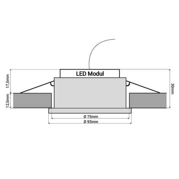 RF-2 Aluminium LED-Einbauleuchte flach rund incl. fourSTEP Dim LED Modul FM-2, 230V, 5W SMD, neutralweiß 4000K – Bild 6
