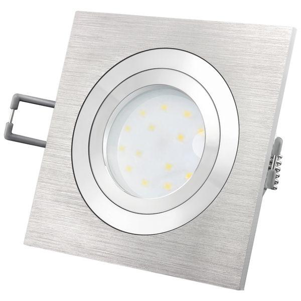 QF-2 Alu LED-Einbauspot flach schwenkbar inkl. fourSTEP Dim LED Modul FM-2, 230V, 5W SMD, warm weiß 2700K Stückzahl: 1er Set