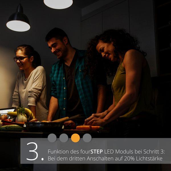 QF-2 LED-Einbauleuchte weiß, flach und schwenkbar inkl. fourSTEP Dim LED Modul FM-2, 230V, 5W SMD, warm weiß 2700K – Bild 5