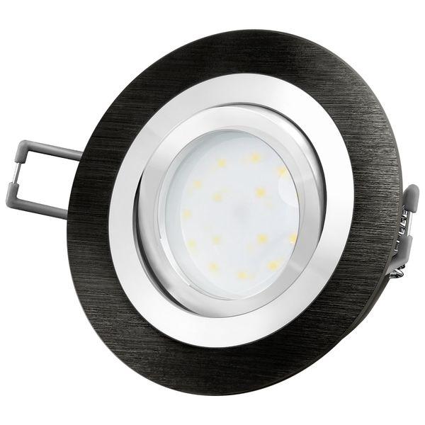 RF-2 LED-Einbauspot rund flach Alu schwarz gebürstet inkl. fourSTEP Dim LED Modul FM-2, 230V, 5W SMD, warm weiß 2700K – Bild 2