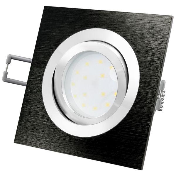 QF-2 LED-Einbauleuchte Alu schwarz schwenkbar flach inkl. fourSTEP Dim LED Modul FM-2 230V, 5W, neutralweiß 4000K