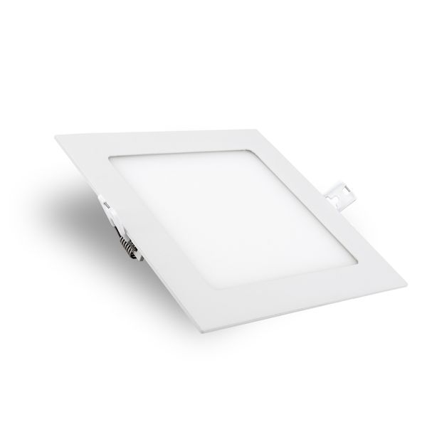 flaches LED Deckeneinbau-Panel - KATRO N weiß quadratisch, 12W warm weiß, 230V IP44 – Bild 1