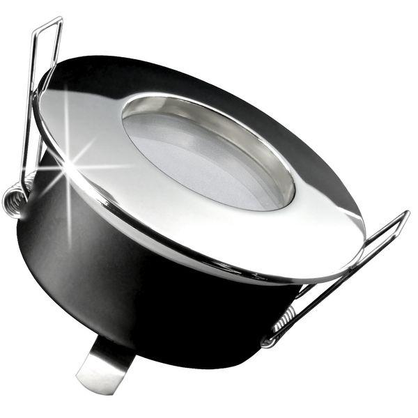RW-1 Feuchtraum LED-Einbauspot flach chrom, IP65 inkl. fourSTEP Dim LED Modul FM-2, 230V, 5W SMD, warm weiß 2700K