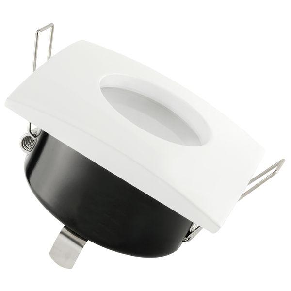 QW-1 flacher LED-Einbaustrahler weiss, IP65 inkl. fourSTEP Dim LED Modul FM-2, 230V, 5W SMD, warm weiß 2700K