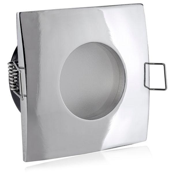 QW-1 flacher LED-Einbaustrahler chrom glänzend, IP65 inkl. fourSTEP Dim LED Modul FM-2, 230V, 5W SMD, warm weiß 2700K – Bild 5