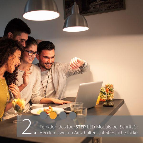 QW-1 flacher LED-Einbaustrahler chrom glänzend, IP65 inkl. fourSTEP Dim LED Modul FM-2, 230V, 5W SMD, warm weiß 2700K – Bild 3
