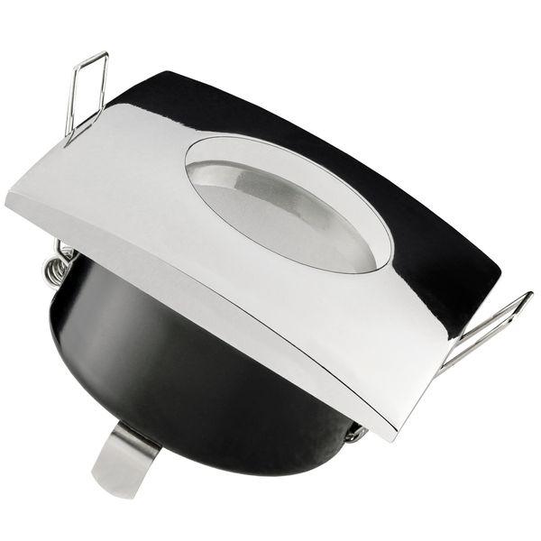 QW-1 flacher LED-Einbaustrahler chrom glänzend, IP65 inkl. fourSTEP Dim LED Modul FM-2, 230V, 5W SMD, warm weiß 2700K Stückzahl: 1er Set