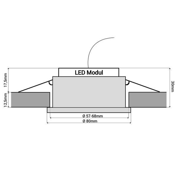 RW-2 LED-Einbauleuchte IP44 Alu flach rund inkl. fourSTEP Dim LED Modul FM-2, 230V, 5W SMD, neutralweiß 4000K  – Bild 7