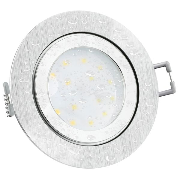 RW-2 LED-Einbauleuchte IP44 Alu flach rund inkl. fourSTEP Dim LED Modul FM-2, 230V, 5W SMD, neutralweiß 4000K
