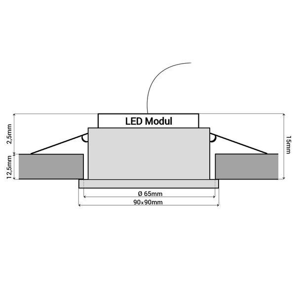 Flache Design Einbauleuchte aus Glas quadratisch schwarz spiegelnd, fourSTEP Dim LED Modul FM-2, 230V, 5W SMD, neutralweiß 4000K – Bild 7