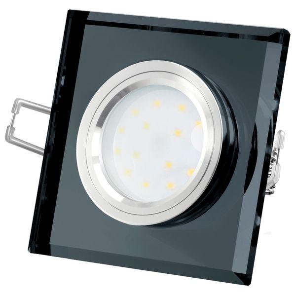 Flache Design Einbauleuchte aus Glas quadratisch schwarz spiegelnd, fourSTEP Dim LED Modul FM-2, 230V, 5W SMD, neutralweiß 4000K