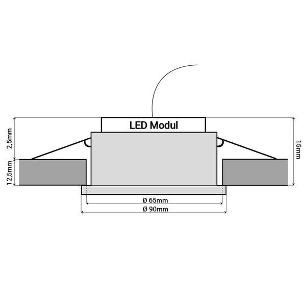 Glas LED-Einbaustrahler flach, rund, schwarz spiegelnd, fourSTEP Dim LED Modul FM-2, 230V, 5W SMD, neutralweiß 4000K – Bild 7