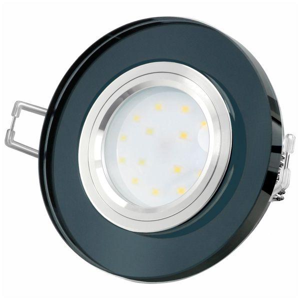 Glas LED-Einbaustrahler flach, rund, schwarz spiegelnd, fourSTEP Dim LED Modul FM-2, 230V, 5W SMD, neutralweiß 4000K