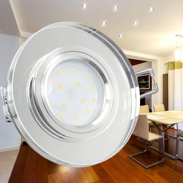 LED-Einbauspot Echtglas flach, rund, klar spiegelnd, fourSTEP Dim LED Modul FM-2, 230V, 5W SMD, neutralweiß 4000K – Bild 6