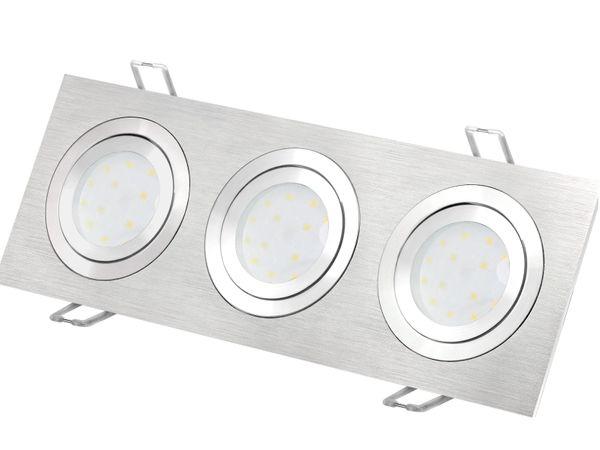 QF-2.3 flacher Alu LED-Einbaustrahler schwenkbar, 3 x fourSTEP Dim LED Modul FM-2, 230V, 5W SMD, warm weiß 2700K – Bild 2
