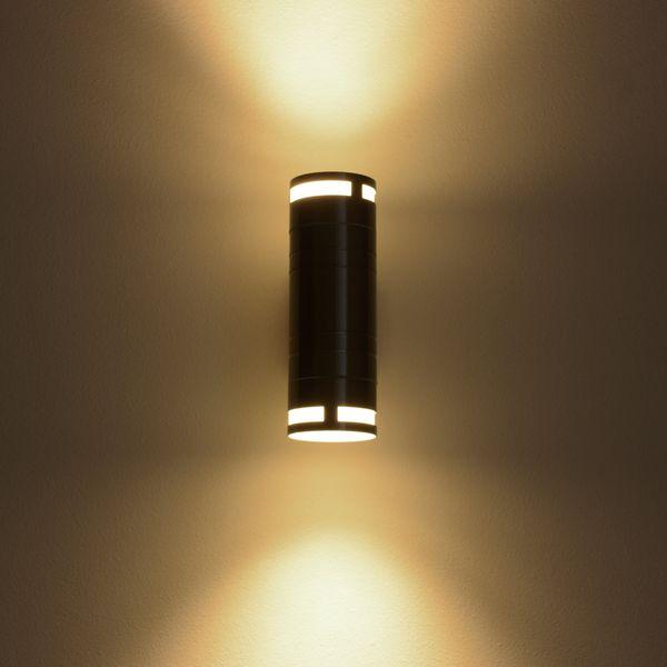 Außen-Wandleuchte Wandlampe up & down Aufbauleuchte, IP44 Edelstahl, inkl. LED 2 x 5W 400 lm warmweiss – Bild 2
