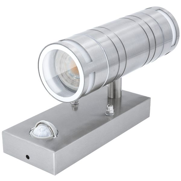 Außen-Wandleuchte up & down, Dämmerungs- und Bewegungssensor PIR, IP44 Edelstahl,  inkl. LED 2 x 5W 400 lm warmweiss – Bild 3