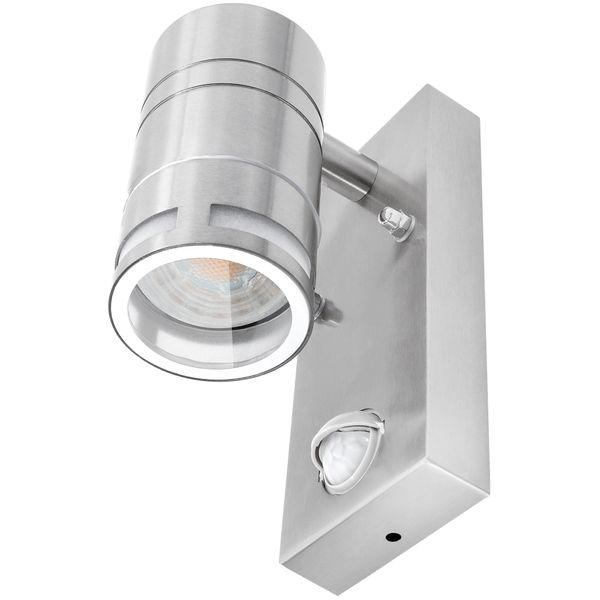 Außen-Wandleuchte Downlight, Dämmerungs- und Bewegungssensor PIR, IP44 Edelstahl, inkl. LED 5W neutralweiss – Bild 3